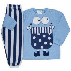 pijama infantil masculino meia malha azul claro branco 1222 6630