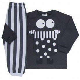 pijama infantil masculino meia malha chumbo branco 1222 6629