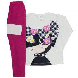 conjunto infantil feminino blusa meia malha off white e leggin pink 1196 6553