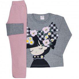 conjunto infantil feminino blusa meia malha mescla e leggin rosa claro 1196 6552