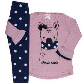 conjunto infantil menina litle urso rosa claro marinho 1180 6504