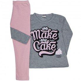 conjunto infantil feminino blusa mescla meia malha e legging rosa 1185 6518