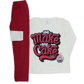 conjunto infantil feminino blusa off white meia malha e legging vermelha 1185 6520