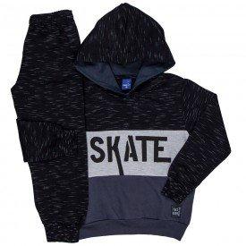 conjunto infantil masculino skate moletom preto mescla chumbo 6307 8202