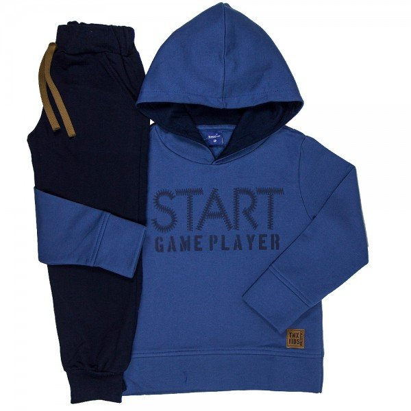conjunto infantil masculino start game moletom indigo marinho 6306 8199