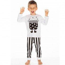 pijama infantil masculino meia malha branco 1222 6631 2