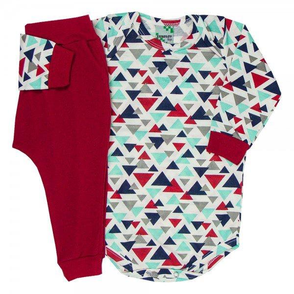 conjunto body manga longa geometrico e saruel vermelha 1550 8245