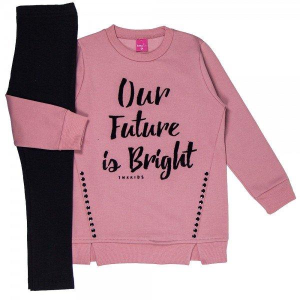 conjunto infantil menina future blush preto 2204 8101