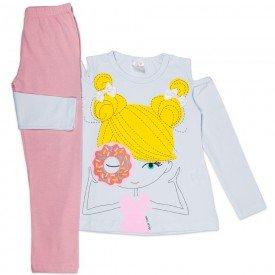 conjunto infantil feminino cotton branco rosa claro 1193 6542