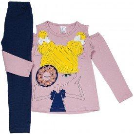 conjunto infantil feminino cotton rosa claro marinho 1193 6543