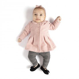 conjunto bebe feminino sobretudo microsoft rosa cha principe de gales 0065