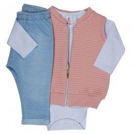 trijunto bebe menina rosa cha branco moletom jeans 0070 8037