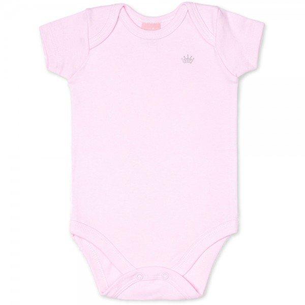 body bebe feminino manga curta suedine rosa claro 9002 7335