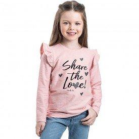 blusa infantil menina share love rosa cha 2211 8116