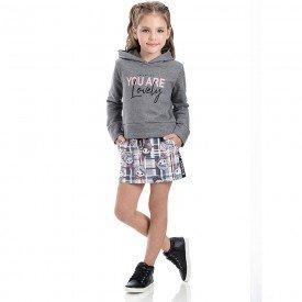 conjunto infantil menina lovely mescla grafite xadrez cinza 2206 8105