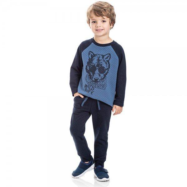 conjunto infantil masculino wild life indigo marinho 5316 8174
