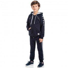 conjunto infantil masculino jaqueta e calca jogger moletom marinho 6303 8189