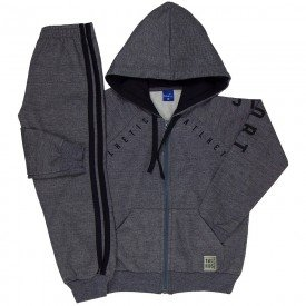 conjunto infantil masculino jaqueta e calca jogger moletom mescla grafite 6303 8190