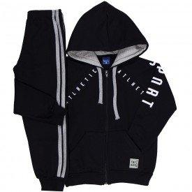 conjunto infantil masculino jaqueta e calca jogger moletom preto 6303 8191