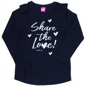 blusa infantil menina share love marinho 2211 8115