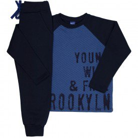 conjunto infantil masculino blusa matelasse e calca moletom indigo marinho 6311 8214