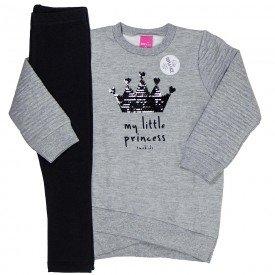 conjunto infantil menina little princess mescla preto 1208