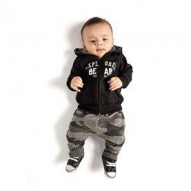 conjunto bebe menino explore bear preto mescla grafite 4071 8120