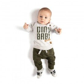 conjunto bebe menino dino baby mescla verde 4073 8126