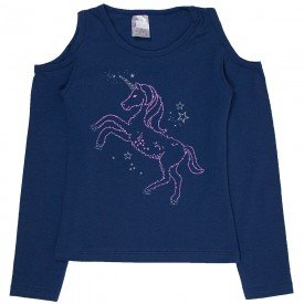 blusa infantil marinho unicornio 1257