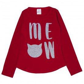 blusa infantil vermelha meow