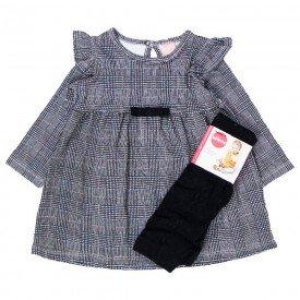 vestido manga longa bebe menina principe de gales meia calca 0066 8024