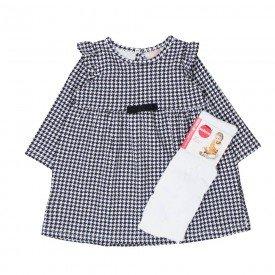 vestido manga longa bebe menina pied de poule meia calca 0066 8025