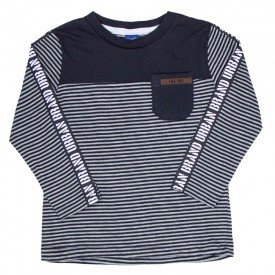 camiseta infantil menino manga longa listrada preto 5319 8183