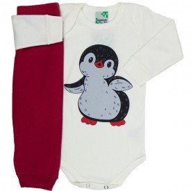 conjunto body off white pinguim e calca vermelha 1607 8533