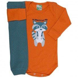 conjunto body raposa laranja e calca verde 1605 8531