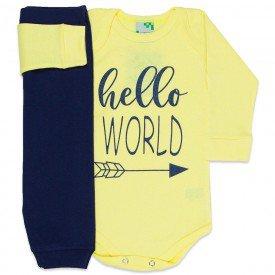conjunto body hello world amarelo e calca marinho 1610 8536