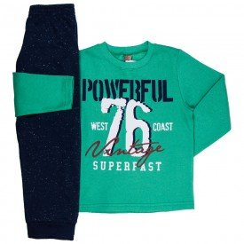 conjunto infantil masculino de moletom powerful verde marinho mk672 7605