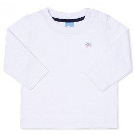 camiseta bebe masculina manga longa meia malha branca 9405 7380