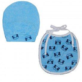 kit babador e touca azul panda 1580 8496
