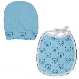 kit babador e touca azul ursinho 1578 8499