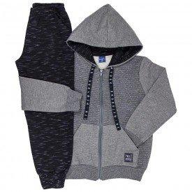 conjunto infantil masculino jaqueta matelasse e calca jogger mescla preto 6304