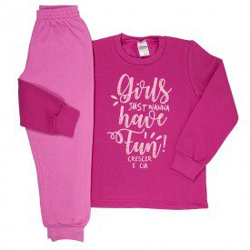 conjunto infantil menina moletom moletom magic pink chiclete 9154 9140