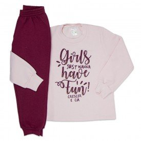 conjunto infantil menina moletom moletom magic rose bordo 9154 9140