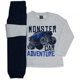 conjunto infantil menino moletom monster car mescla light marinho mk545 7564