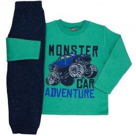 conjunto infantil menino moletom monster car verde marinho mk545 7565