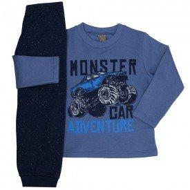 conjunto infantil menino moletom monster car indigo marinho mk545 7566