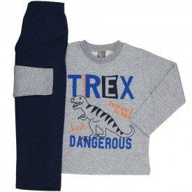 conjunto infantil menino moletom t rex mescla marinho mk546 7567