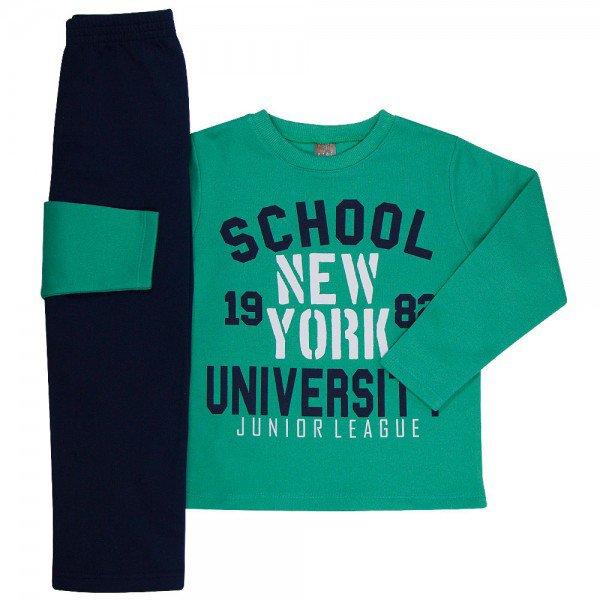 conjunto infantil masculino de moletom school verdemarinho mk670 7599