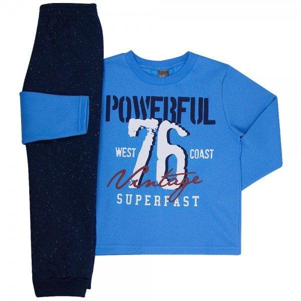 conjunto infantil masculino de moletom powerful azul medio marinho mk672 7604