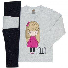 conjunto infantil menina hello mescla light preto mk166 7512